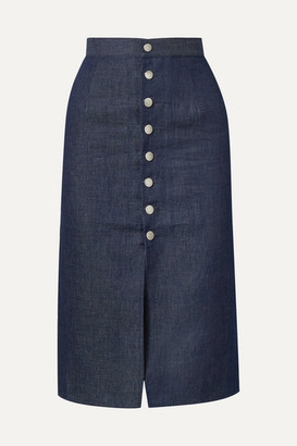 Simon Miller Luz Cotton And Linen-blend Chambray Skirt - Indigo