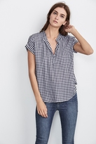 Eunice Short Sleeve Gingham Top In Black
