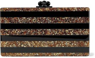 Edie Parker Jean Striped Glittered Acrylic Box Clutch