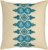 "Trina Turk Catalina Paisley Pillow with Blue Embroidery at Center, 18""Sq."