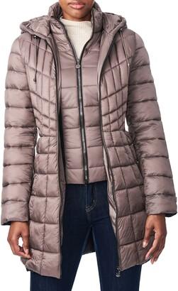 Bernardo Packable Hooded PrimaLoft(R) Fill Coat with Contrast Inset Bib