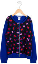 Little Marc Jacobs Girls' Floral Print Zip-Up Sweater