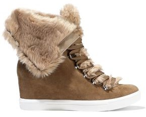 Donna Karan Cristin Faux Fur-trimmed Suede Wedge Sneakers