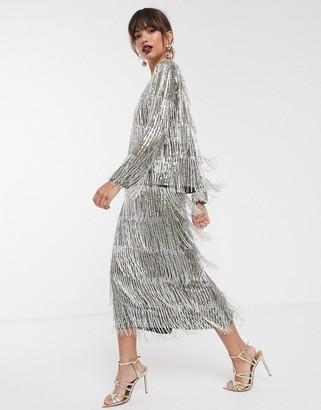 Asos Edition EDITION sequin & fringe midi pencil skirt-Green