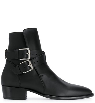 Amiri Double Buckle Ankle Boots
