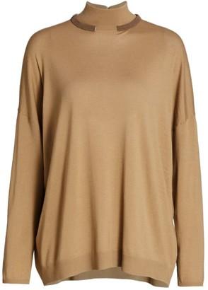 Brunello Cucinelli Monili Collar Wool & Cashmere Turtleneck Sweater