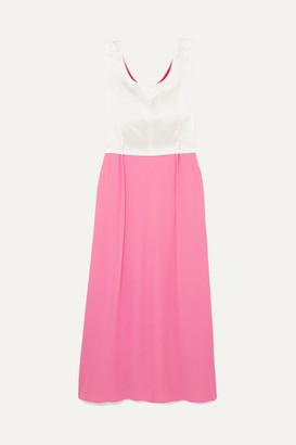 Marni Colour-block Crepe And Satin Maxi Dress - Pink