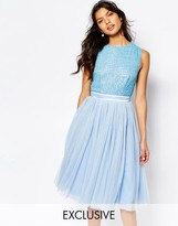 Maya Embellished Top Midi Dress with Tulle Skirt