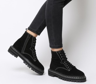 Office Alphabet Double Rand Lace Up Boots Black Suede