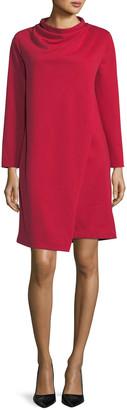 Joan Vass Plus Size Long-Sleeve Drape-Front Knit Dress
