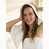 Aquis Lisse Crepe Microfiber Professional Long Hair Drying Towel (19 x 44 Inches) - White