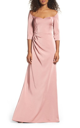La Femme Sweetheart Satin Column Gown