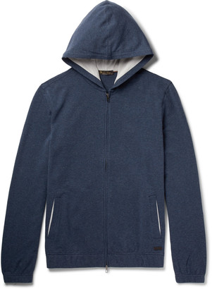 Loro Piana Melange Stretch-Cotton Jersey Zip-Up Hoodie