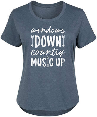 Instant Message Plus Women's Tee Shirts HEATHER - Heather Blue 'Windows Down Country Music Up' Scoop Neck Tee - Plus