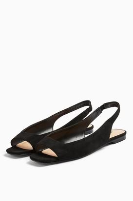 Topshop WIDE FIT ANNIE Black Square Peep Slingback Shoes