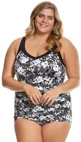 Penbrooke Plus Size White Snow Shirred Girl Leg One Piece Swimsuit 8150474