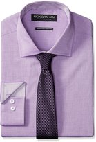 Nick Graham Men's Chambray Dress Shirt with Houndstooth Tie
