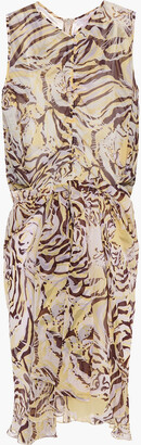 See by Chloe Ruched Printed Silk-voile Dress