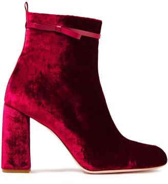 Red(V) Leather-trimmed Crushed-velvet Ankle Boots