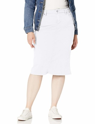 SLINK Women's Plus Size Fitted midi Skirt with Back Slit