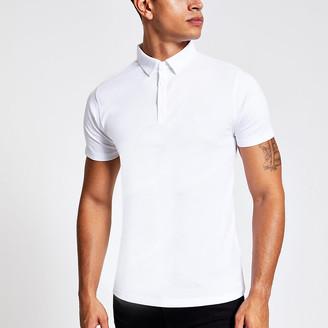 River Island White short sleeve muscle fit rib polo shirt