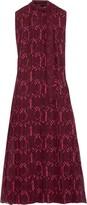 Valentino Pleated Printed Silk-georgette Midi Dress