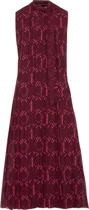 Valentino Pleated Printed Silk-georgette Midi Dress