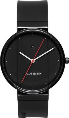 Jacob Jensen Unisex-Adult Analogue Quartz Watch with Rubber Strap JJ773