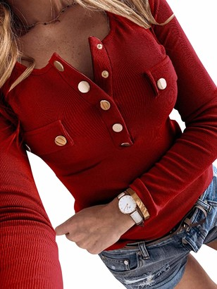 Sexy Dance Womens Slim Fit Long Sleeve Knit Tops V Neck Button Tunic Lightweight Solid Color Blouse Tunic L Red