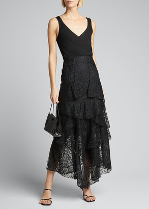 Olivier Theyskens Long Lace Asymmetric Skirt