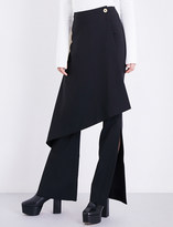 SOLACE London Sydney skirt-panel flared crepe trousers