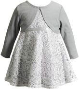 Youngland Girls 4-6x Crochet Lace Dress & Long Sleeve Shrug Set
