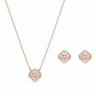 Swarovski Sparkling Dance Clover Jewellery Set - Women's Necklace and Earring Pair with White and Pink Crystals in a Rose-gold Tone Plating