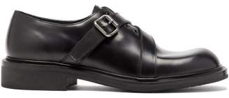 Prada Spazzalato Leather Monk Strap Shoes - Mens - Black