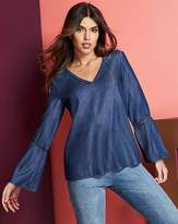Fashion World Fluted Lyocell Denim Top