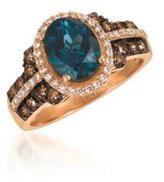LeVian LE VIAN Deep Sea Topaz Ring Chocolate and Vanilla Diamonds 2.52 cttw 14K Rose Gold Size 7