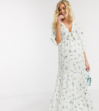 ASOS DESIGN Maternity lace insert tie front maxi dress with kimono sleeve in ditsy floral print
