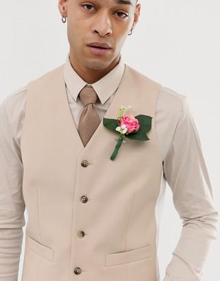 Asos Design DESIGN wedding slim suit vest in camel-Beige