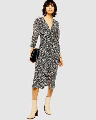 Topshop V-Neckline Ruched Midi Dress
