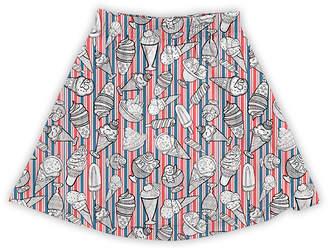 Urban Smalls Girls' Casual Skirts Multi - White & Red Vintage Americana Stripe Ice Cream A-Line Skirt - Toddler & Girls