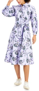 Charter Club Petite Cotton Printed Shirtdress, Created for Macy's