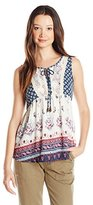Jolt Women's Sleeveless Printed Georgette with Twin Printed Bodice and Lace Trim