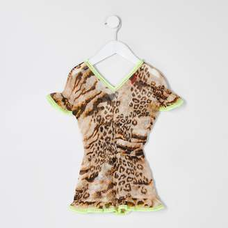 River Island Mini girls Brown leopard print beach playsuit