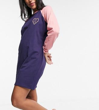 Wednesday's Girl long sleeve raglan t-shirt nightdress with embroidered heart