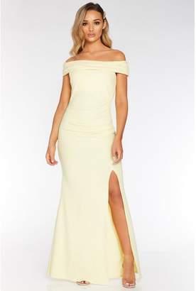 Quiz Lemon Bardot Ruched Split Maxi Dress