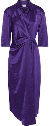 Nanushka Dalas Draped Crinkled Washed-satin Wrap Dress