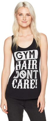 Chin Up Chin-Up Women's Gym Hair Don't Care Racerback Graphic Tank Top