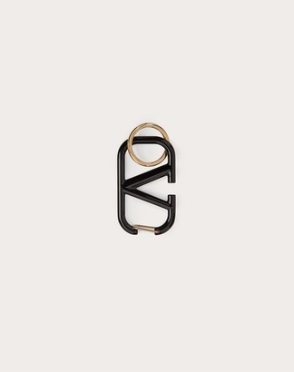 Valentino Vlogo Signature Keychain In Lacquered Metal Women Optic White Brass 100% OneSize