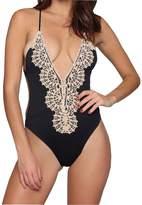 pingsheng Womens Lace Bikini Deep V-neck Swimsuit Swimwear Bathing One Piece Padded (l)