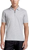 Salvatore Ferragamo Cotton Piqué Zip Polo Shirt with Gancini Chest Embroidery, Gray/White